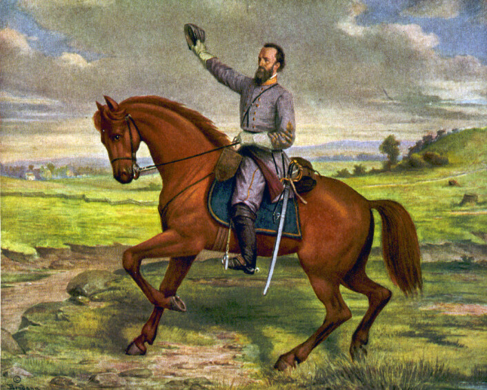 Maleri av Thomas Stonewall Jackson på sin hest, Little Sorell. (Foto: (Illustrasjon: David Bendann / wikimedia commons))