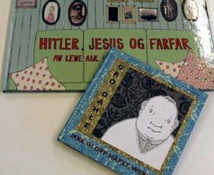 """To bildebøkene som førsteamanuensis Åse Marie Ommundsen har undersøkt er Gro Dahles """"Ikke gi opp håpet,. Werner"""" og lene Asks """"Hitler, Jesus og far"""". (Foto: Kari Aamli)"""