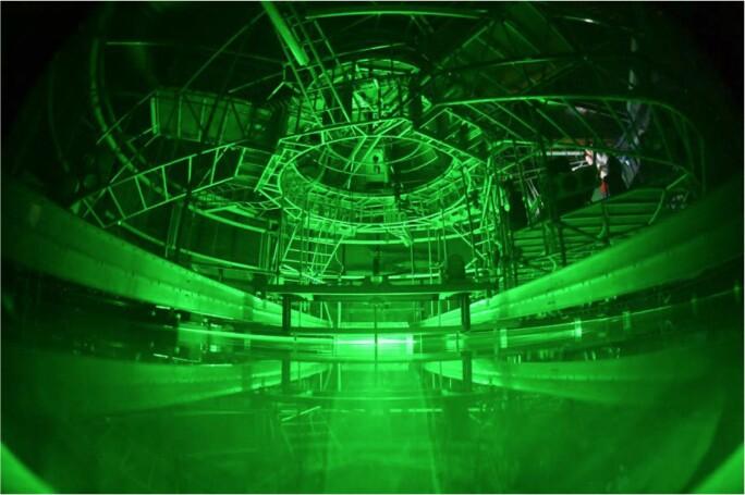 Innsiden av den roterende tanken under et av eksperimentene.
