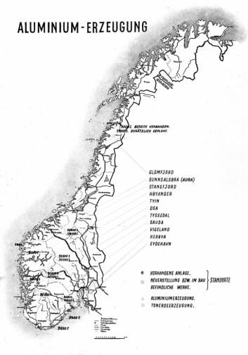 Aluminiumsfabrikker skulle opprettes over hele Norge, ifølge planene som ble lagt av tyskerne, NACO og Hydro. (Foto: (Ill: Fra fotoalbumet Ein Jahr: Reichskommissariat für die Besetzten Norwegischen Gebiete (1942), Norsk krigstrykksamling, Nasjonalbiblioteket))
