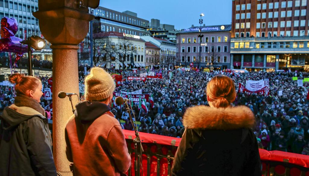 8. mars: Markeringen av den internasjonale kvinnedagen på Youngstorget i Oslo 2019.