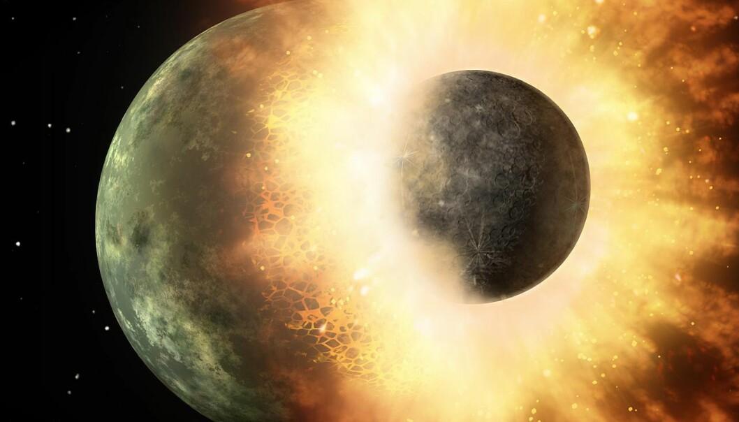 Slik kan en kollisjon mellom jorden og Theia ha sett ut, men bildet er spekulasjon. Denne kollisjonen kan ha skapt månen,