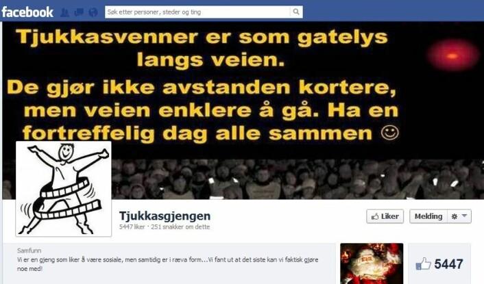 Faksimile av Tjukkasgjengens Facebook-gruppe.