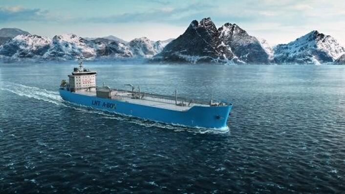 LNG-skip frakter flytendene naturgass ved svært lav temperatur for å komprimere gassvolumet. Bildet viser småskala LNG-skip fra LNG New Technologies som seiler i Lofoten. (Foto: (Illustrasjon: LNG New Technologies / Michael Grebstad))