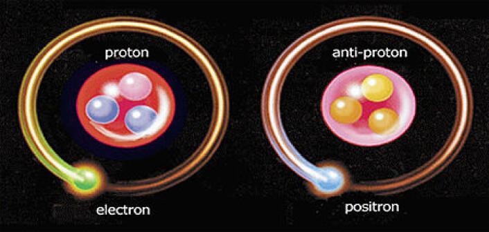 Antimaterie er identisk med vanlig materie bortsett fra at antimaterien har omvendt ladede atomer. Når de to møtes oppheves de i et energiblaff. (Illustrasjon: AEgiS)