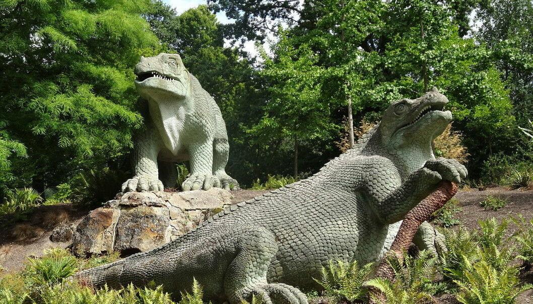 Slik trodde man at Iguanodoner så ut på midten av 1800-tallet.