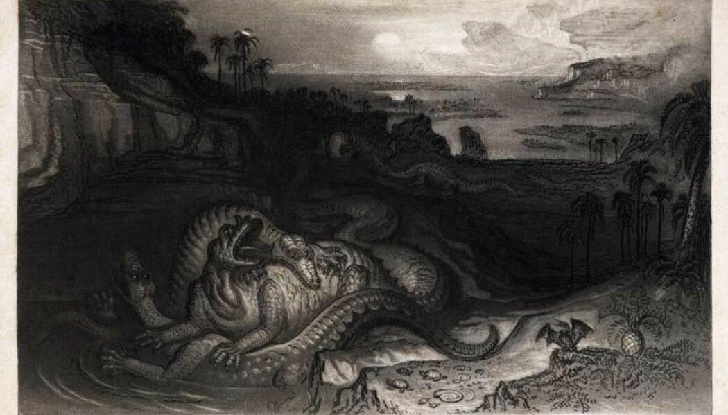 Her ser vi Iguanodon og Megalosaurus i kamp. Bildet er tegnet kort tid etter de første dinosaurene var oppdaget. Her har kunstneren tegnet dem som kravlende, øgle-monstre i vannet.