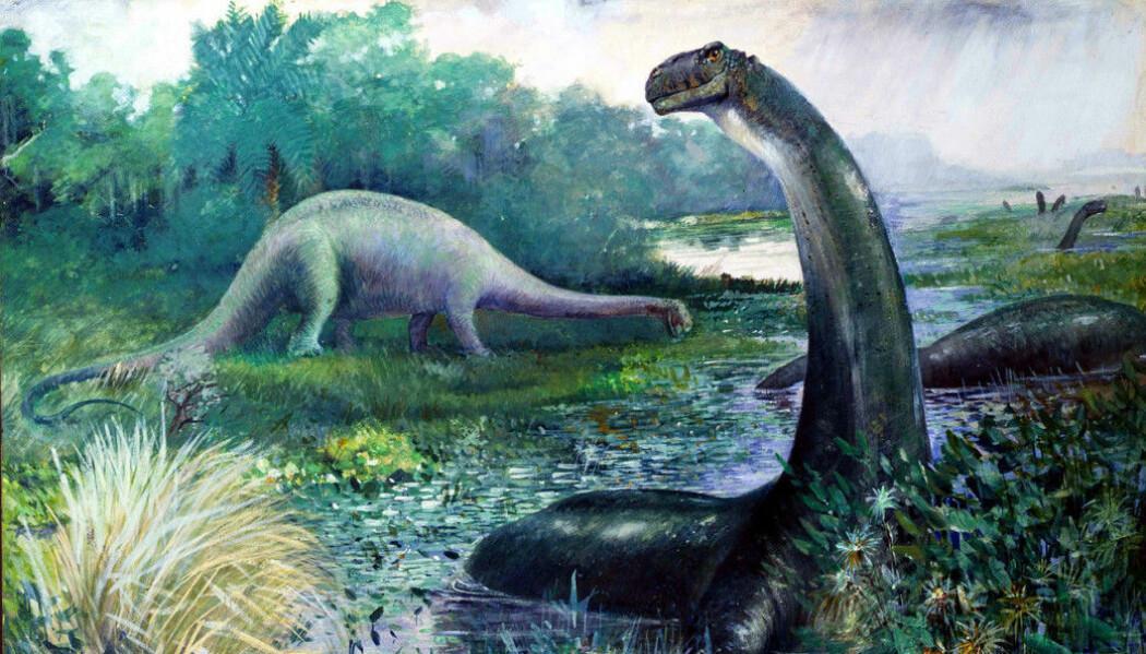 Dinosaurer ble ofte malt i sumplandskap. Dette bildet ble laget tidligere av Charles Knight i 1897.