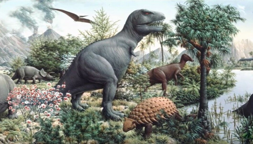 Store og tykke dinosaurer preger dette maleriet.