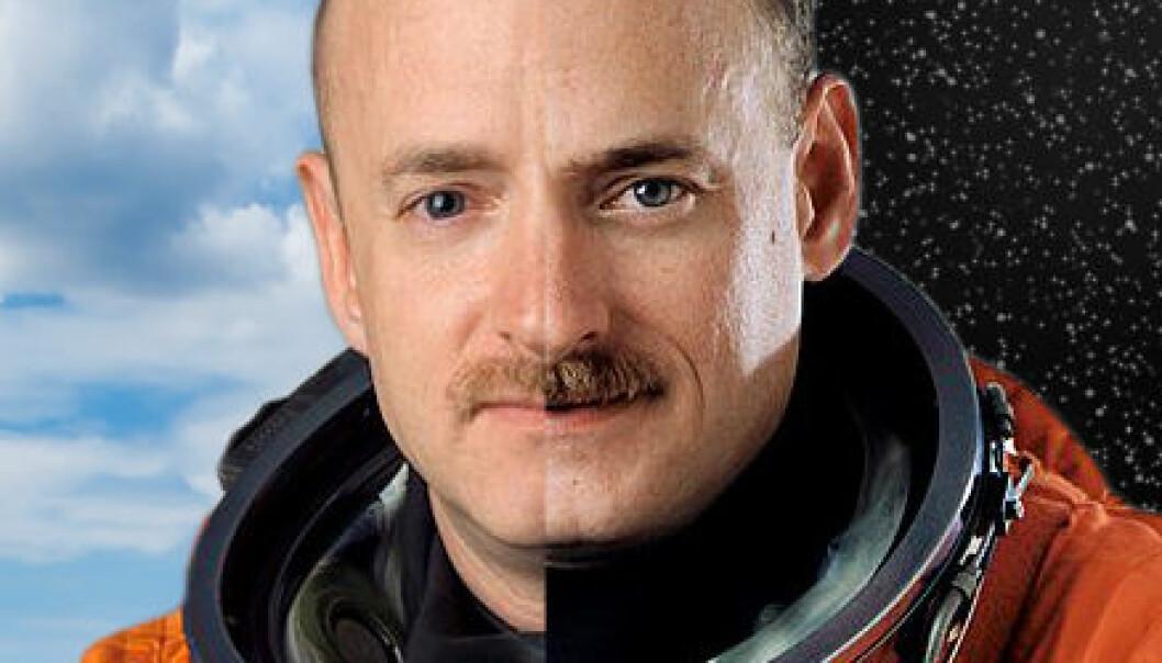 De eneggede tvillingastronautene Mark (t.v.) og Scott Kelly skal delta i et medisinsk eksperiment der Scott oppholder seg ett år på den internasjonale romstasjonen og Mark er tilbake på jorda. NASA, montasje forskning.no/www.colourbox.no