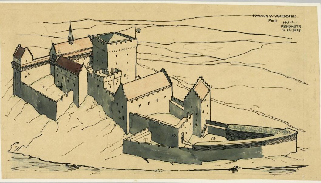 Holger Sinding-Larsens rekonstruksjon av Akershus festning på 1300-tallet.