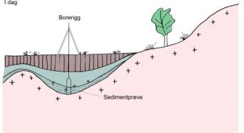 """""""I dag er det marine bassenget blitt til en myr. Ved å bore etter sedimentprøver og deretter radiokarbondatere både plantene og skjellene man finner i prøven, kan man avgjøre alderen til sjøvannet tilbake i tid."""""""