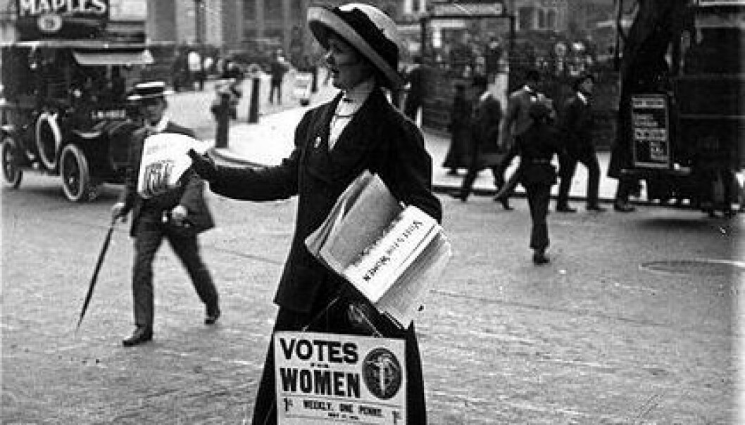 Britisk suffragette, cirka 1910. Chusseau-Flaviens/Wikimedia Commons