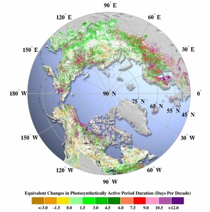Endring i vekstsesong - dager per tiår. (Foto: (Illustrasjon: Norsk institutt for naturforskning))