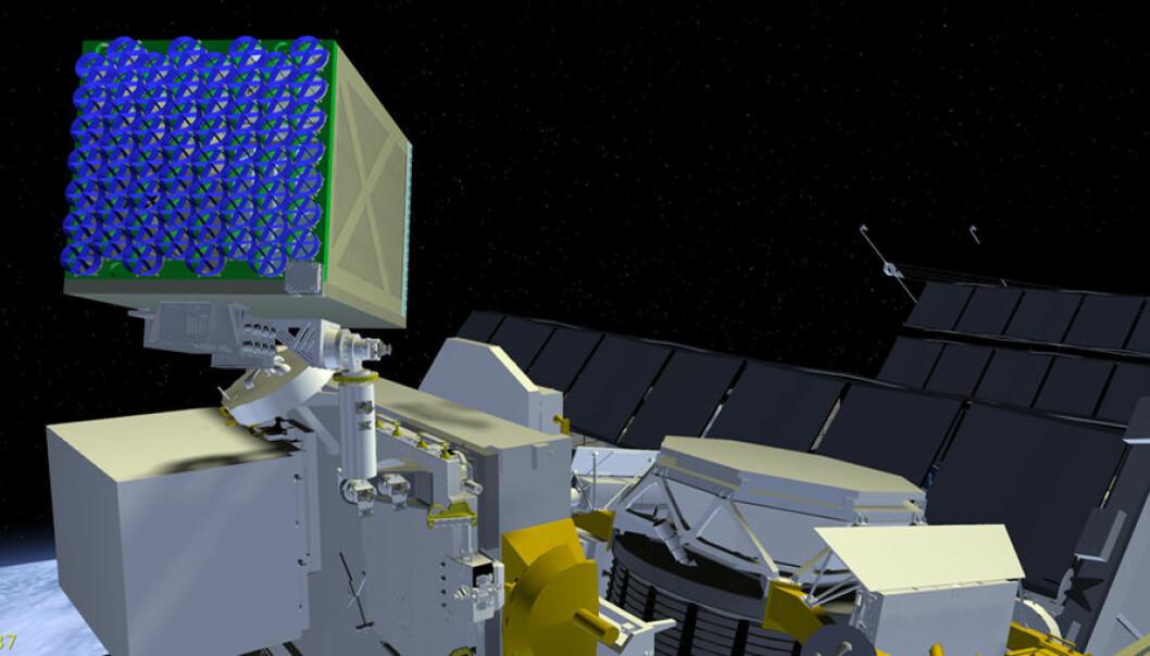 NICER_/SEXTANT-eksperimentet skal fly på utsiden av den internasjonale romstasjonen. Det skal studere pulsarer i røntgenområdet, og samtidig prøves ut som navigasjon med pulsarer etter omtrent samme prinsipp som GPS. (Illustrasjon: NASA)