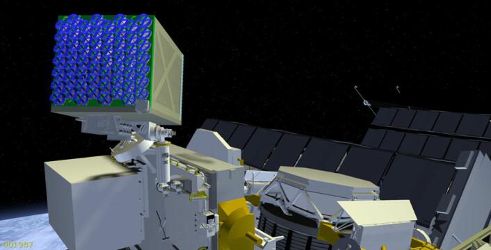 NICER_/SEXTANT-eksperimentet skal fly på utsiden av den internasjonale romstasjonen. Det skal studere pulsarer i røntgenområdet, og samtidig prøves ut som navigasjon med pulsarer etter omtrent samme prinsipp som GPS. (Foto: (Illustrasjon: NASA))