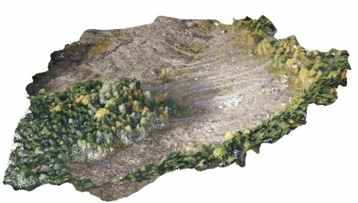 Ved hjelp av laserpulser som skytes mot bakken fra fly lages tredimensjonale terrengmodeller. Her kombinert med bilder tatt fra drone. Fra et hogstfelt på Voss i Hordaland. (Foto: Skog og landskap)
