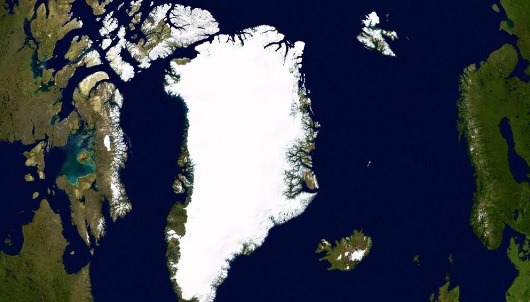 """""""Funnet ble gjort på Grønland, her vist i form av et satellittfoto."""""""
