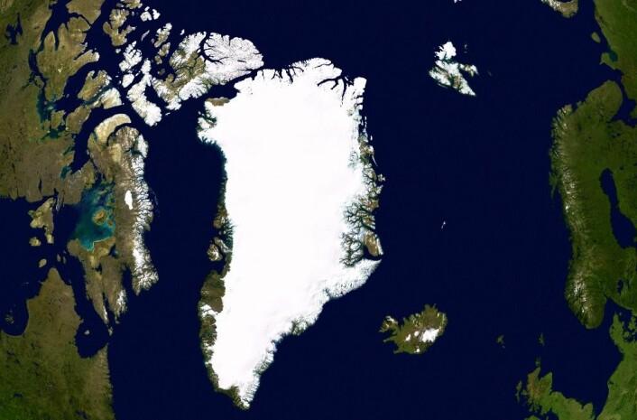 Satellittbilde av Grønland. (Foto: NASA)