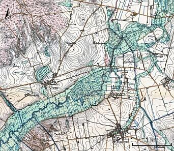 Topography at Sem at the river Kastbjerg Å, Northern Jutland, Denmark