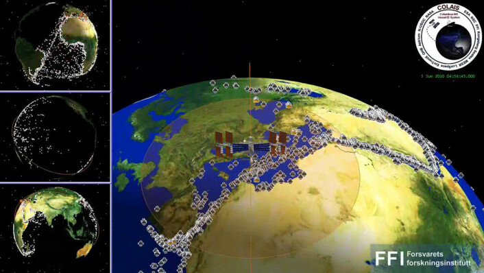 Jorda med skip registrert fra Den internasjonale romstasjonen. (Foto: (Figur: Forsvarets forskningsinstitutt))