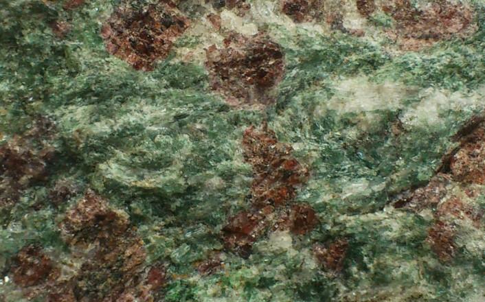 De to mineralene granat og omfasitt gir henhodsvis fargene rødt og grønt til bergarten eklogitt. (Foto: Andreas R. Graven)