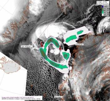Illustrasjonen viser den sannsynlige banen for et polart lavtrykk, på vei mot Nord-Norge i begynnelsen av desember i fjor. Klikk på forstørrelsesglasset for å gjøre bildet større. (Foto: (Illustrasjon: Barentswatch/Meteorologisk institutt))