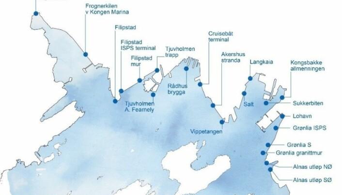 Kartet viser de 21 stedene som ble undersøkt med undervannsroboten Dory 4. oktober 2019.