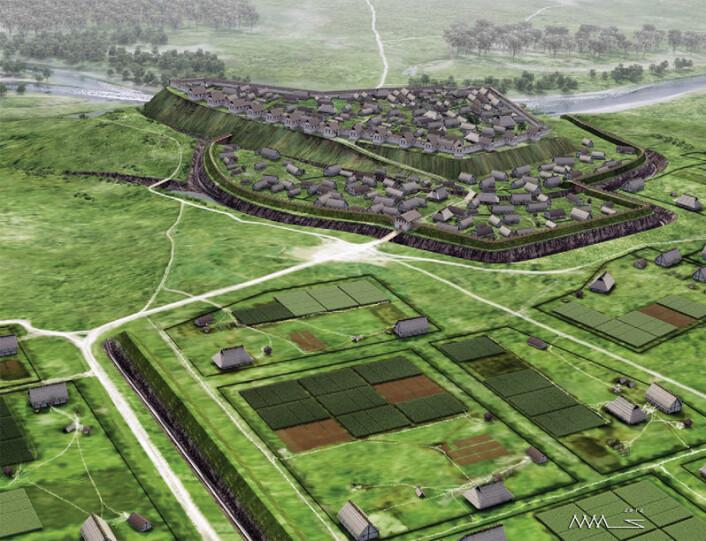 Heuneburg i det sørlige Tyskland kan ha vært Nord-Europas første by. Rekonstruksjon av hvordan byen kan ha sett ut for 2500 år siden. (Foto: (Illustrasjon: Landesamt für Denkmalpflege))