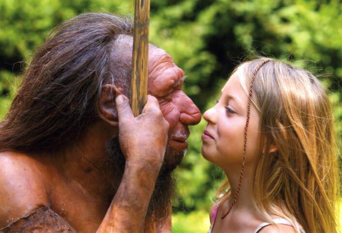 Neandertalere og moderne mennesker kan ha skilt lag evolusjonsmessig for så mye som en million år siden. Bildet viser ei jente som hilser på en rekonstruksjon av en neandertaler ved det populære Neanderthal Museum i Tyskland. Museet ligger i Mettman, ikke langt fra Düsseldorf, på stedet der de første neandertalerne ble funnet. (Foto: Neanderthal Museum/H. Neumann)