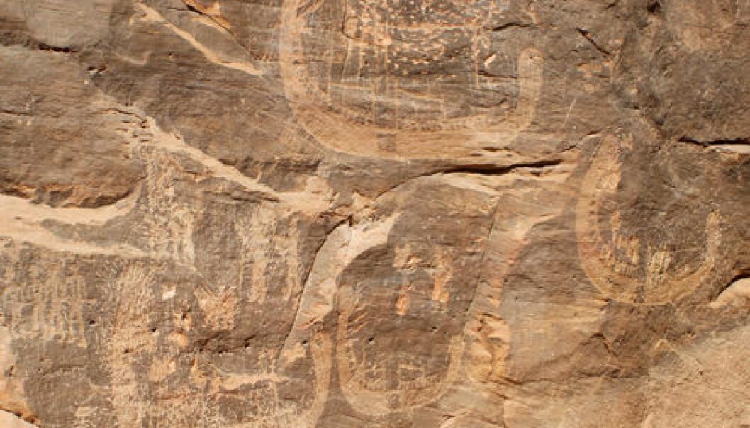 Bergkunst av båter fra Aswan. Stan Hendrickx, John Coleman Darnell og Mariela Carmela Gatto