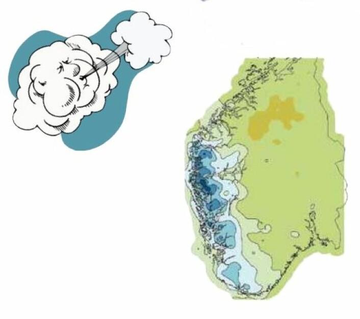 SØRVEST: Her kan nedbøren øke mest (blått) i framtiden om den dominerende vinden mot Norge kommer fra sørvest. (Foto: (Kart: Klima i Norge2100))