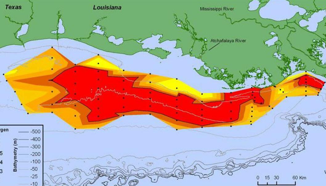 (Illustrasjon:  LUMCON (Rabalais), NOAA)