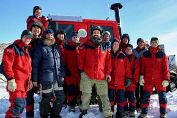 """Traversteamet samlet på Troll i Dronning Mauds Land. (Foto: Norsk Polarinstitutt)"""