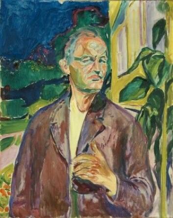 """Selvportrett foran husveggen"" fra 1926. Bildet henger i Munch-museet. (Foto: Munchmuseet)"