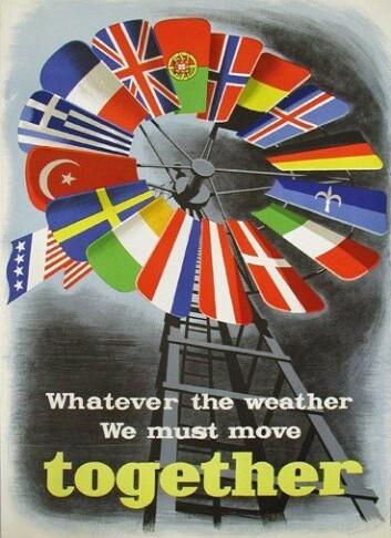 Plakat for å fremme et forent Europa etter andre verdenskrig. Plakaten er laget av Economic Cooperation Administration (ECA) som fremmet Marshall-planen i Europa. (Foto: Wikimedia Commons)