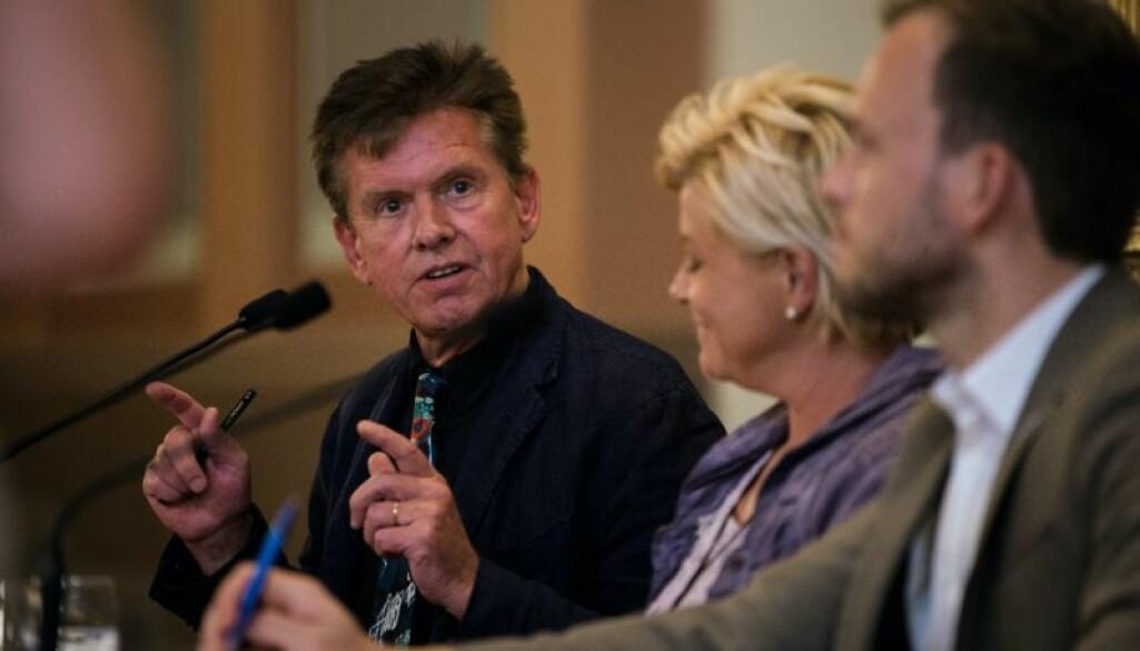 Professor Øystein Gullvåg Holter i debatt om stemmerettsjubileet, likestillingens historie og likestillingslandet Norge med partileder Siv Jensen (FrP) og partileder Audun Lysbakken (SV).