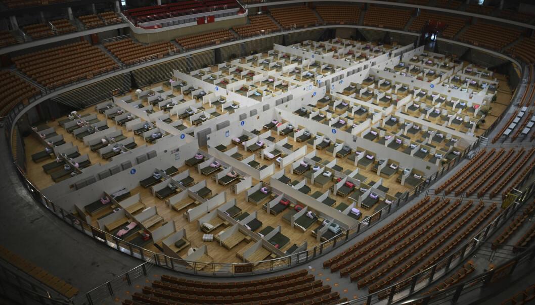 En sportsstadion i Wuhan ble gjort om til midlertidig oppholdssted for Covid-19-smittede.
