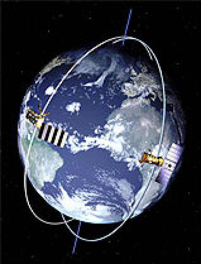 """""""Satellitter i polare baner kan over noe tid gi data fra alle steder på jorda. (NASA/EUMETSAT)"""""""