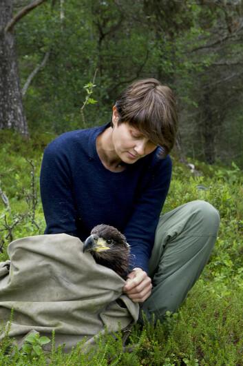Forsker Silja Sletten er påpasselig med at ungene behandles så skånsomt som mulig under forskervisitten. (Foto: Ingun A. Mæhlum)
