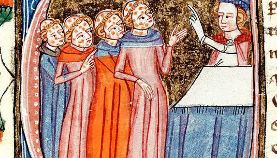 Munker med pest blir velsignet av en prest. Miniatyren er fra verket Omne Bonum, skrevet av James le Palmer mellom 1360 og 1375. Wikimedia Commons