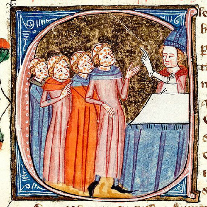 Munker med pest blir velsignet av en prest. Miniatyren er fra verket Omne Bonum, skrevet av James le Palmer mellom 1360 og 1375. (Foto: Wikimedia Commons)