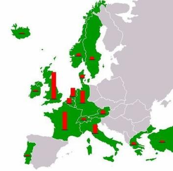 Europeiske land som sa ja til hjelp fra USA etter andre verdenskrig. Røde søyler indikerer omfanget av økonomisk hjelp til landene. (Foto: (Illustrasjon: Wikimedia Commons))