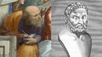To av de joniske filosofene, Anaximander (t.v.) og Thales. (Foto: (Illustrasjoner: Wikimedia Commons))
