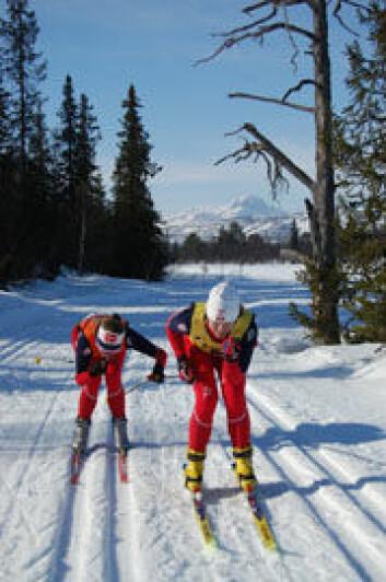 Anne-Mette Bredahl med ledsager under et skirenn. (Foto: NIH)