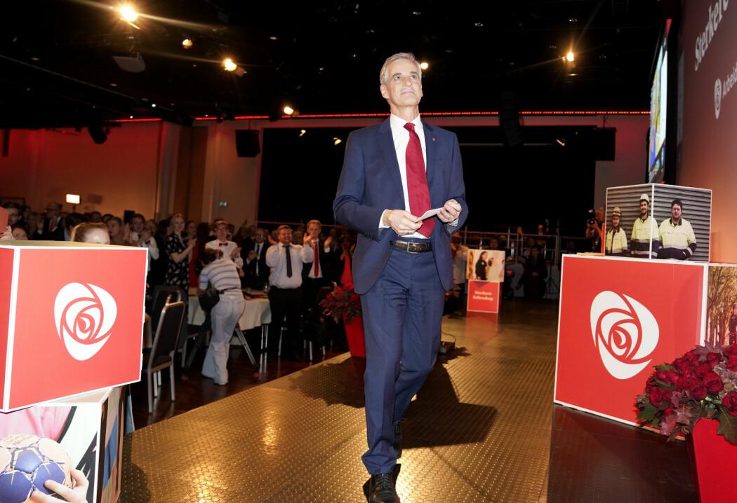 Historisk dårlig resultat for Arbeiderpartiet i 2019. Her er partileder Jonas Gahr Støre på valgvaken i Oslo.