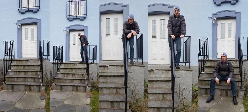 Ut på trappen, men ikke lenger. Harald Sodemann var på Finse for å samle snø da han brått måtte dra hjem fordi forskningsstasjonen der skulle stenges sammen med universitetene.