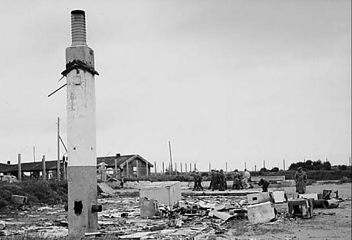 Bildet er fra 1945, og viser deler av leiren slik den framsto i 1945