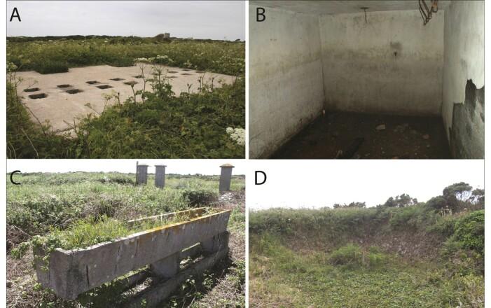 Bildene viser rester av leiren som er der i dag. blant annet latrinen (A) og kjelleren til fange-kjøkkenet (B).