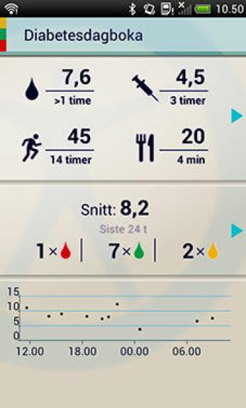 Skjermdump fra Diabetesdagboka. (Foto: NST)